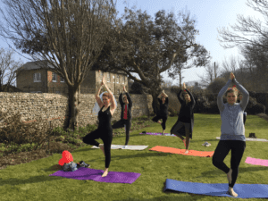 yoga at hen do, tree pose